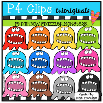P4 RAINBOW Frazzled Monsters (P4 Clips Trioriginals CLip Art)
