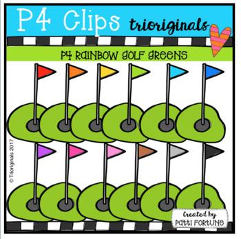 P4 RAINBOW Golf Greens (P4 Clips Trioriginals Clip Art)