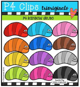 P4 RAINBOW Grubs (P4 Clips Trioriginals Digital Clip Art)