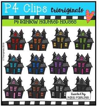 P4 RAINBOW Haunted Houses {P4 Clips Trioriginals Digital Clip Art}