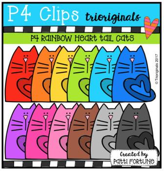 P4 RAINBOW Heart Tail Cats (P4 Clips Trioriginals Clip Art)