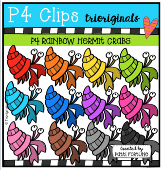 P4 RAINBOW Hermit Crabs (P4 Clips Trioriginals Clip Art)