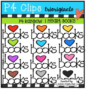 P4 RAINBOW I Heart Books (P4 Clips Trioriginals Clip Art)