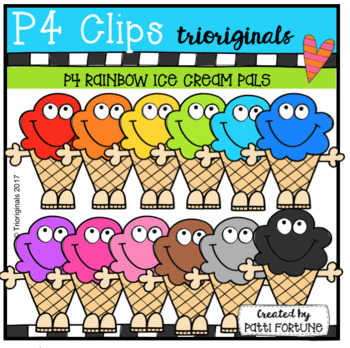 P4 RAINBOW Ice Cream Pals (P4 Clips Trioriginals Clip Art)
