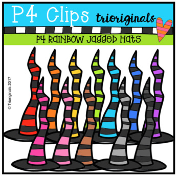 P4 RAINBOW Jagged Witch Hats (P4 Clips Trioriginals Clip Art)