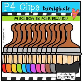 P4 RAINBOW Large Paint Brushes (P4 Clips Trioriginals Clip Art)