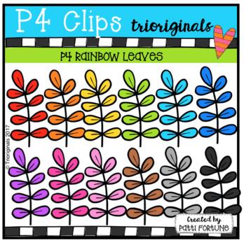 P4 RAINBOW Leaves (P4 Clips Trioriginals Clip Art)