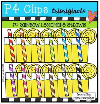 P4 RAINBOW Lemonade Straws (P4 Clips Trioriginals Clip Art)