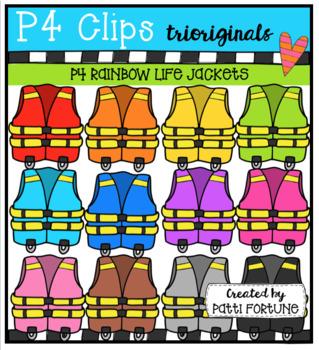 P4 RAINBOW Life Jackets (P4 Clips Trioriginals Clip Art)