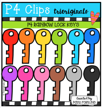 P4 RAINBOW Lock Keys (P4 Clips Triorignals Clip Art)
