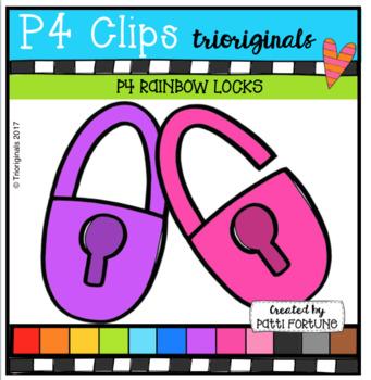 P4 RAINBOW Locks (P4 Clips Trioriginals Clip Art)