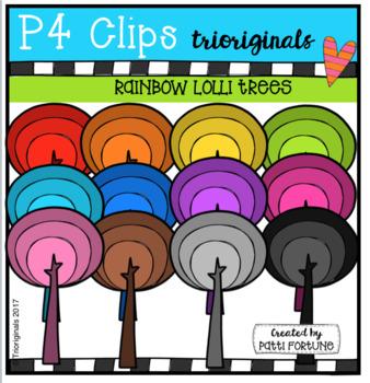 P4 RAINBOW Lolli Trees (P4 Clips Trioriginals Clip Art)