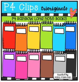 P4 RAINBOW Long Note Books (P4 Clips Trioriginals Clip Art)