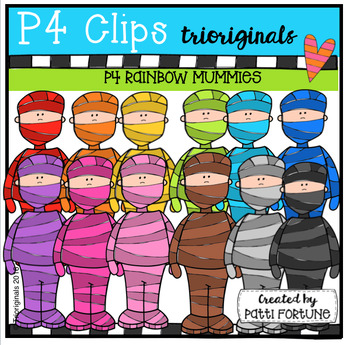P4 RAINBOW Mummies (P4 Clips Trioriginals Digital Clip Art)