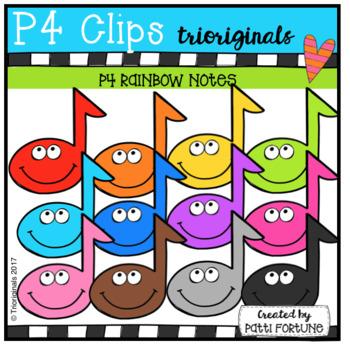 P4 RAINBOW Music Notes (P4 Clips Trioriginals Clip Art)