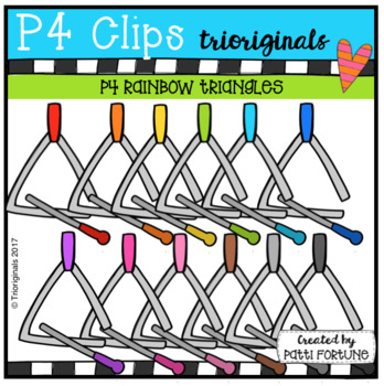 P4 RAINBOW Music Triangles (P4 Clips Trioriginals Clip Art)