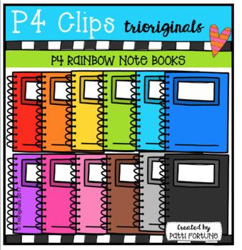 P4 RAINBOW Note Books (P4 Clips Trioiginals Clip Art)