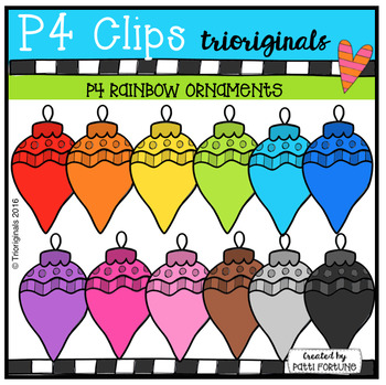 P4 RAINBOW Ornaments (P4 Clips Trioriginals Digital Clip Art)
