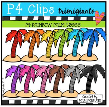 P4 RAINBOW Palm Trees (P4 Clips Trioriginals Clip Art)