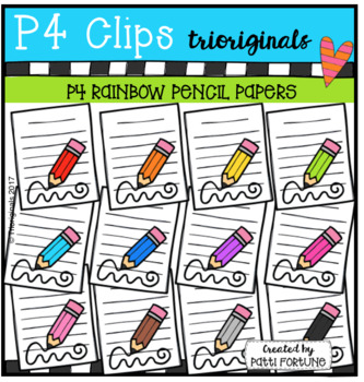 P4 RAINBOW Paper and Pencils (P4 Clips Trioriginals Clip Art)