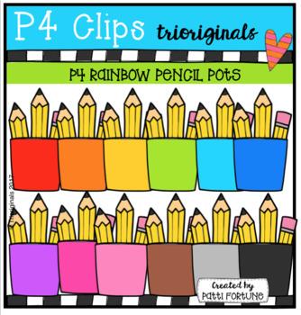 P4 RAINBOW Pencil Pots (P4 Clips Trioriginals Clip Art)