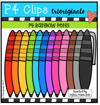P4 RAINBOW Pens (P4 Clips Trioriginals Clip Art)