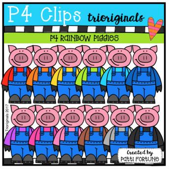 P4 RAINBOW Piggies in Overalls (P4 Clips Trioriginals Clip Art)