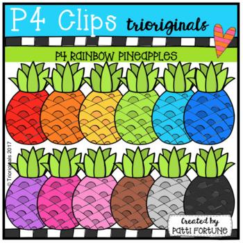 P4 RAINBOW Pineapples (P4 Clips Trioriginals Clip Art)