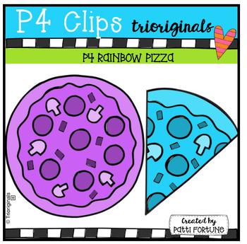 P4 RAINBOW Pizza (P4 Clips Trioriginals Clip Art)