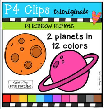 P4 RAINBOW Planets (P4 Clips Trioriginals Clip Art)