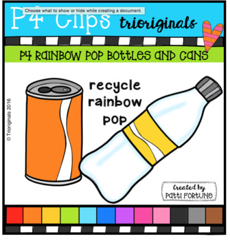P4 RAINBOW Pop Cans and Bottles (P4 Clips Trioriginals Clip Art)