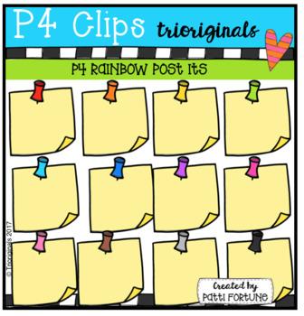 P4 RAINBOW Push Pins and Post Its (P4 Clips Trioriginals Clip Art)