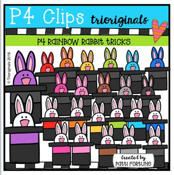 P4 RAINBOW Rabbit Tricks (P4 Clips Trioriginals Digital Clip Art)