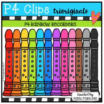 P4 RAINBOW Recorders (P4 Clips Trioriginals Clip Art)