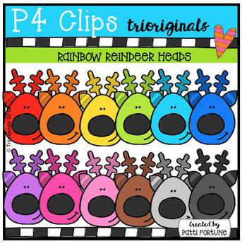 P4 RAINBOW Reindeer (P4 Clips Trioriginals Digital Clip Art)