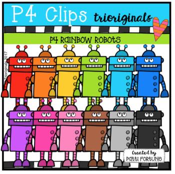 P4 RAINBOW Robots (P4 Clips Trioriginals Clip Art)