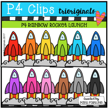 P4 RAINBOW Rocket Launch (P4 Clips Trioriginals Clip Art)