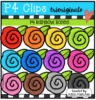 P4 RAINBOW Roses (P4 Clips Trioriginals Clip Art)