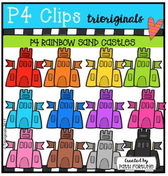 P4 RAINBOW Sand Castles (P4 Clips Triorignals Clip Art)