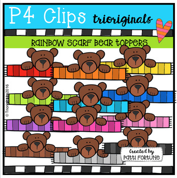 P4 RAINBOW Scarf Bear Toppers (P4 Trioriginals Digital Clip Art)