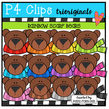P4 RAINBOW Scarf Bears (P4 Clips Trioriginals Digital Clip Art)
