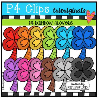P4 RAINBOW Shamrock Clovers (P4 Clips Trioriginals Clip Art)