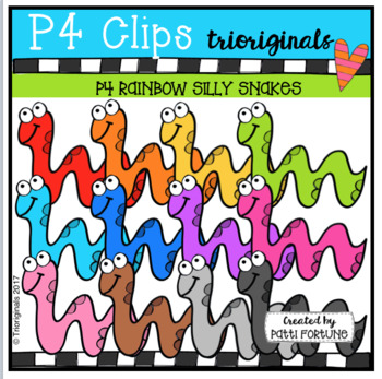 P4 RAINBOW Silly Snakes (P4 Clips Trioriginals lip Art)