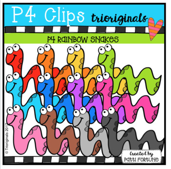 P4 RAINBOW Snakes (P4 Clips Trioriginals Clip Art)