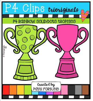 P4 RAINBOW Solid/Dots Trophies (P4 Clips Trioriginals)