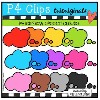 P4 RAINBOW Speech Clouds(P4 Clips Trioriginals Clip Art)