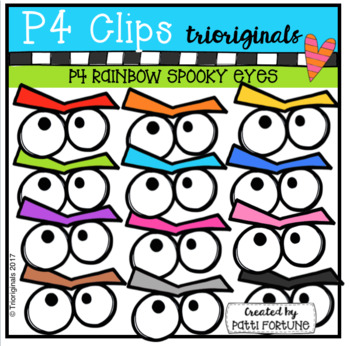 P4 RAINBOW Spooky Eyes (P4 Clips Trioriginals Clip Art)