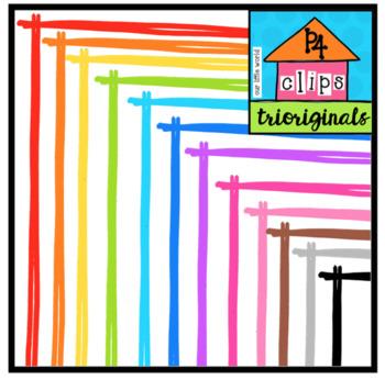P4 RAINBOW Sticky Borders (P4 Clips Trioriginals Clip Art)