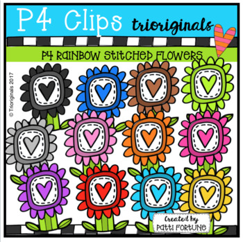 P4 RAINBOW Stitched Love Flowers (P4 Clips Trioriginals)