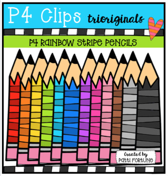 P4 RAINBOW Stripe Pencils (P4 Clips Trioriginals Clip Art)